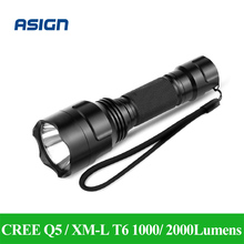 LED Flashlight CREE Q5 / XM-L T6 1000lm / 2000Lumens Torch Cree LED Light No 1×18650 battery 5 Modes High Middle Low Strobe SOS