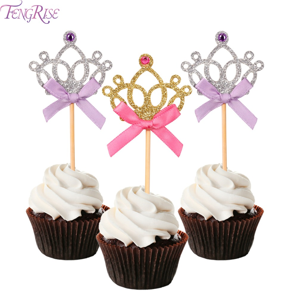 Fengrise 10 pieces crown cake toppers 1st birthday for Baby footprints cake decoration