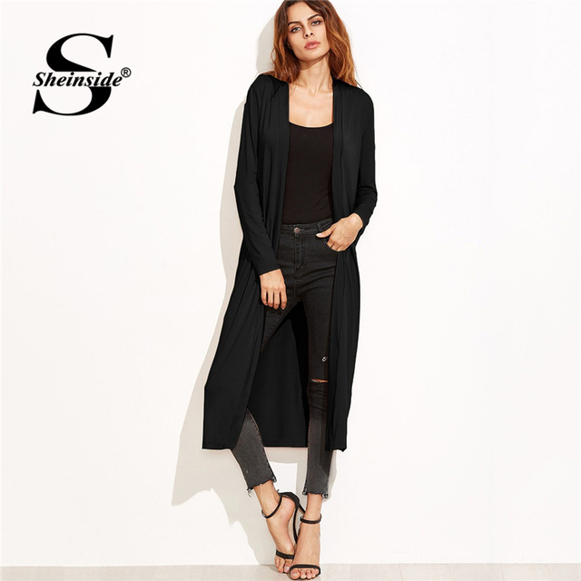 1e2b287305a0 Sheinside Casual Black Collarless Longline Duster Coat Long Sleeve  Streetwear Solid Overcoat 2018 Autumn Women Elegant