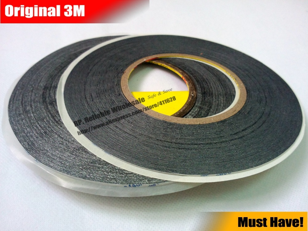 2 rolls (1.5mm/2mm)*50M Strong Adhesive 3M Black Double Sided  Glue Sticker for Samsung Galaxy Nokia Touch Screen LCD Dispaly 20pcs 50 60mm 3m double sided black eva foam tape strong pad mounting rectangle adhesive free shipping