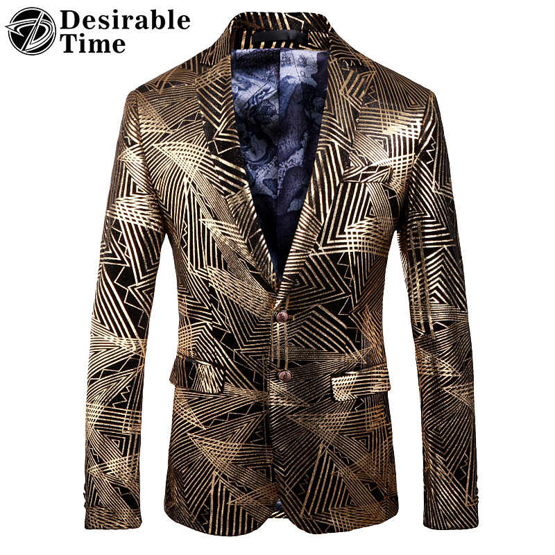 6d566dcca62 Gold Blazer Jacket for Men Fashion Slim Fit Mens Casual Blazers and Suit  Jacket M-
