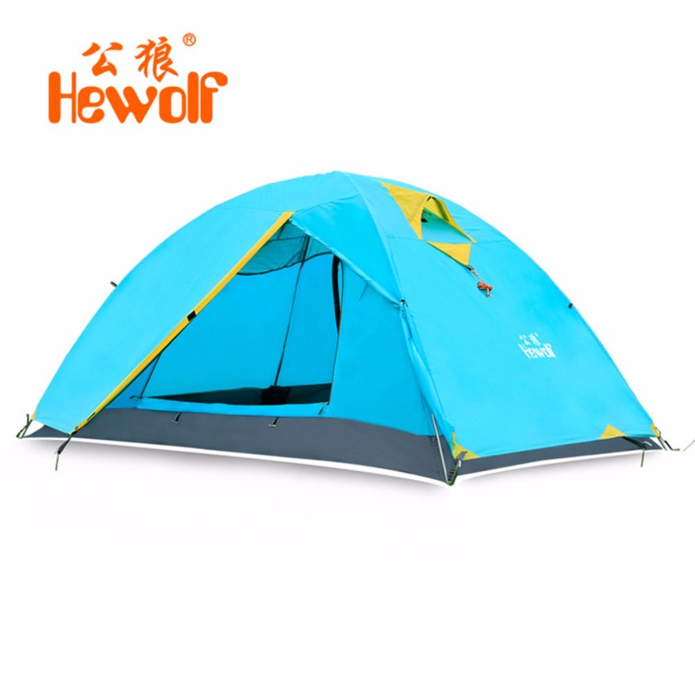 Hewolf Waterproof Windproof Double Layer Tent 2 People Outdoor Camping Tent One Bedroom & One Living Room Beach Tent Green Blue high quality outdoor 2 person camping tent double layer aluminum rod ultralight tent with snow skirt oneroad windsnow 2 plus