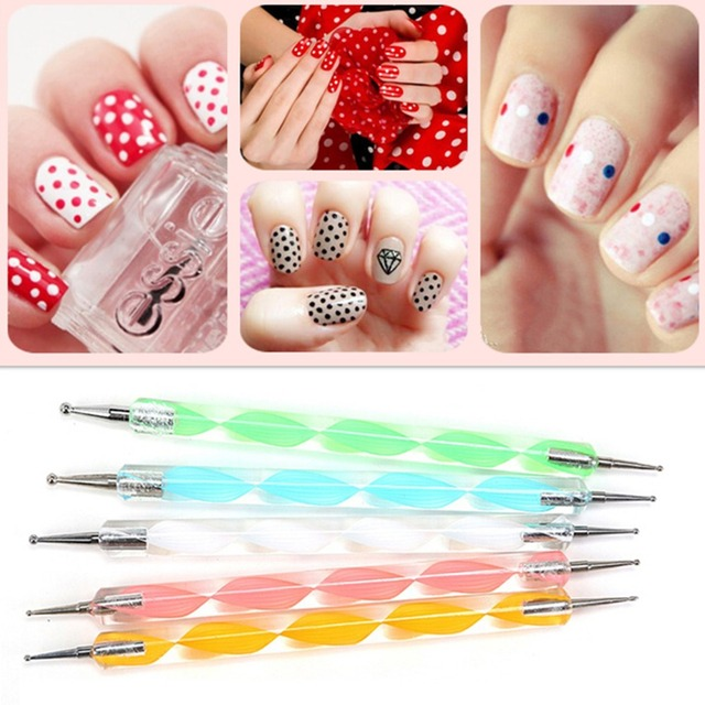 5pcs Dotting Pen Nail Art Tools Decoration Manicure Painting Design Dot Marbleizing