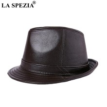 cd7b4be1048 LA SPEZIA Genuine Leather Fedoras Hat Men Brown Vintage Jazz Caps Classic  Male Autumn And Winter Retro Felt Trilby Hat Gentleman