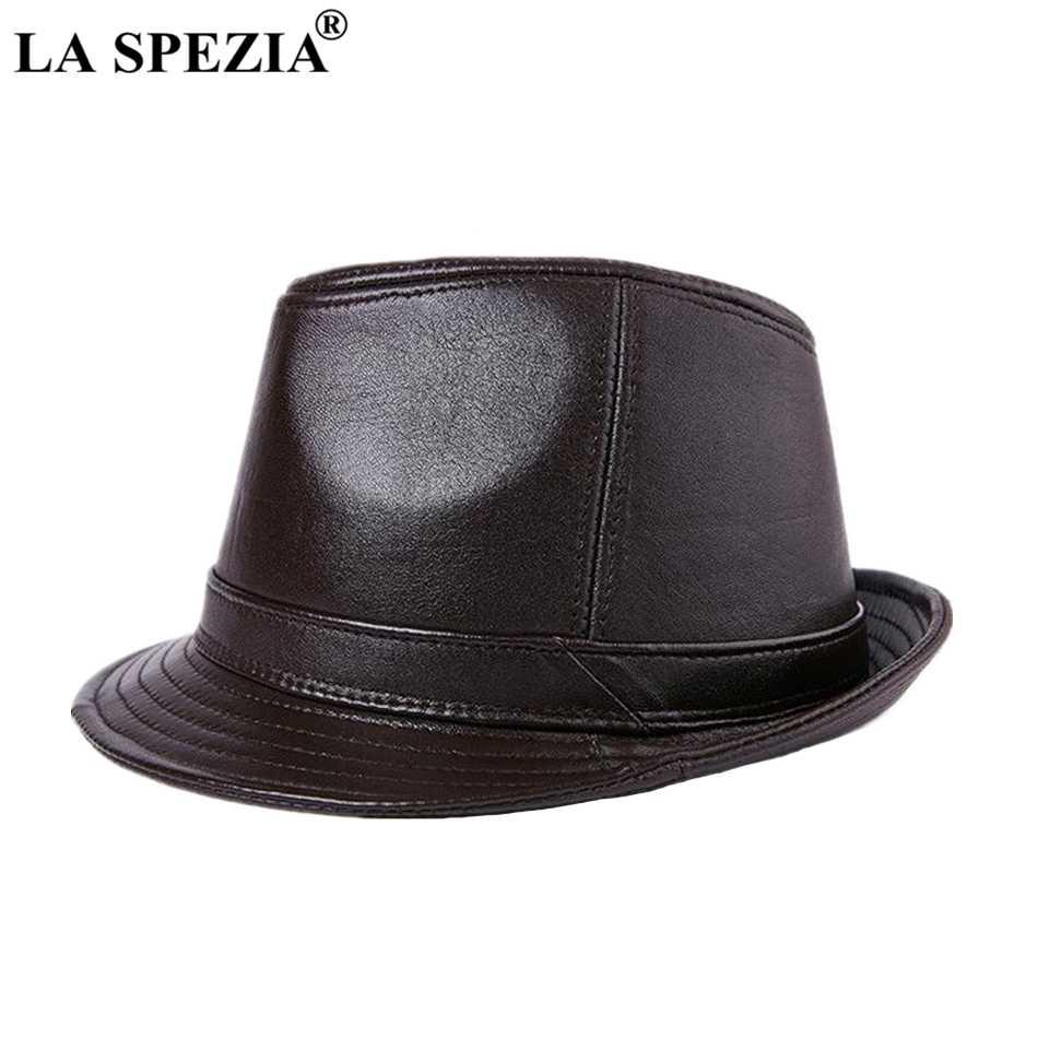 8307310ebaf0c LA SPEZIA Genuine Leather Fedoras Hat Men Brown Vintage Jazz Caps Classic  Male Autumn And Winter