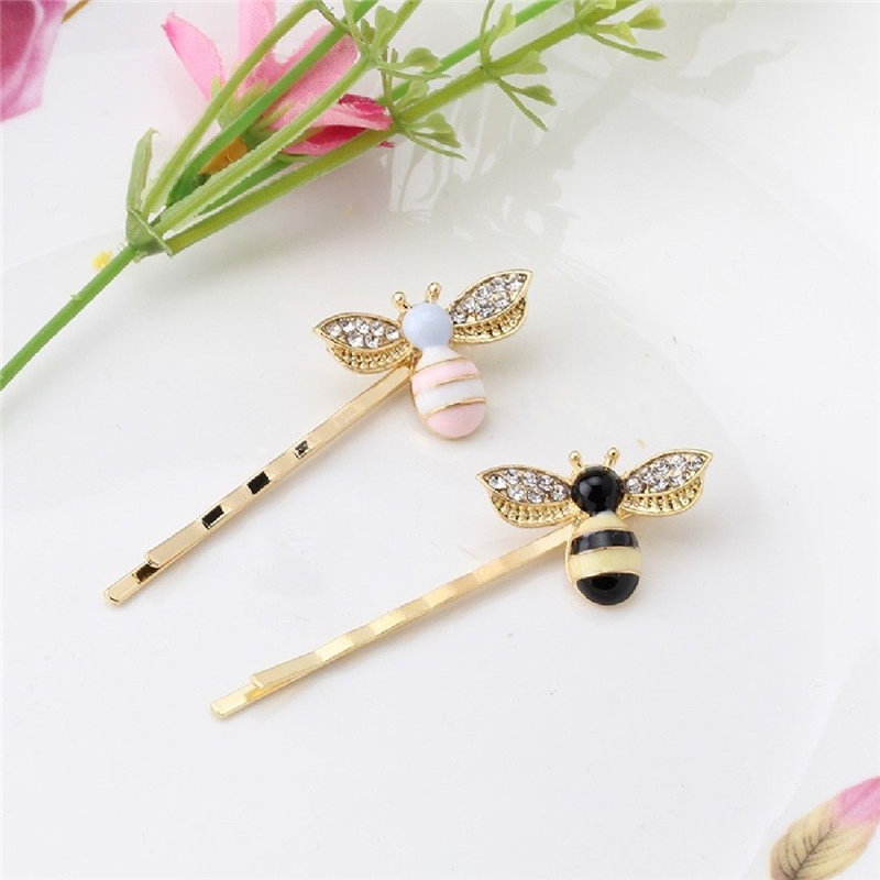 Hot Sale 1Pc Women Chic Rhinestone Colorful Cartoon Bee Barrette Hair Clip Hairpin 1pc fashion lovely women girl metal leaf hair clip crystal hairpin barrette headwear christmas party hair accessory 2016 hot