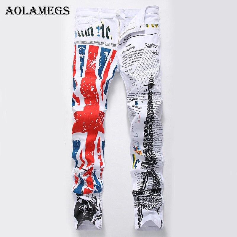 Aolamegs Hommes Jeans Pantalon D'impression Britannique Drapeau Paris Tour de L'anguille Blanc Moteur Pleine Longueur Pantalon D'été Splice Lumière Denim De Mode