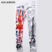 Aolamegs Men Jeans Pants Print British Flag Paris Eel Tower White Motor Full Length Trousers Summer Splice Light Denim Fashion