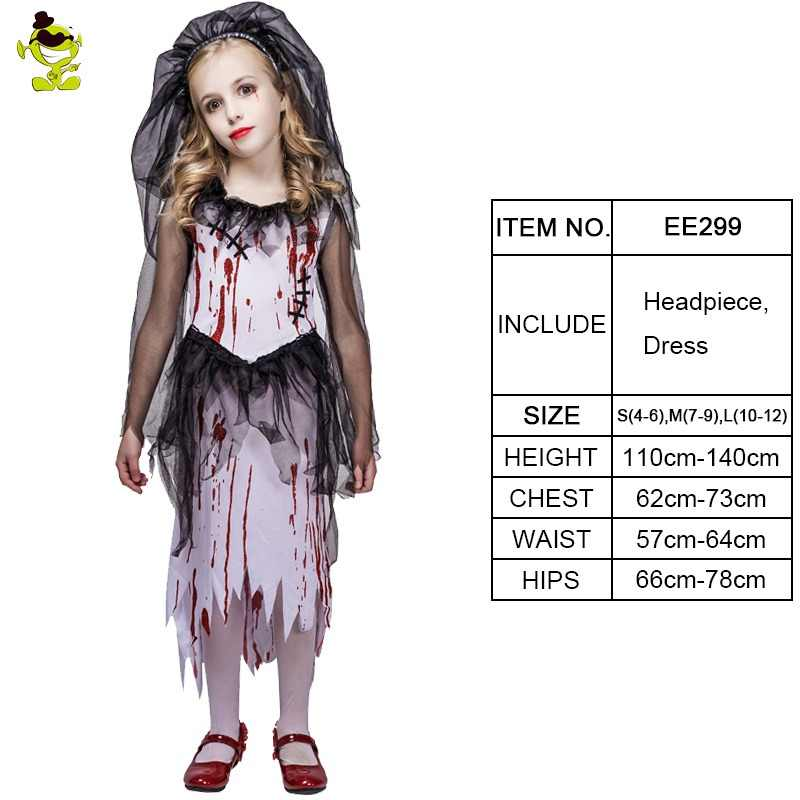 bb2fb30bc New Kids Halloween Horror Bloody Bride Party Costumes Ghost Bride Cosplay Costume  Girls Blood Dress masquerade