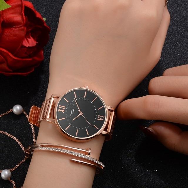 Lvpai Watches Women Luxury Rose Gold Watch Simple Rose Gold Dres Quartz Watch La