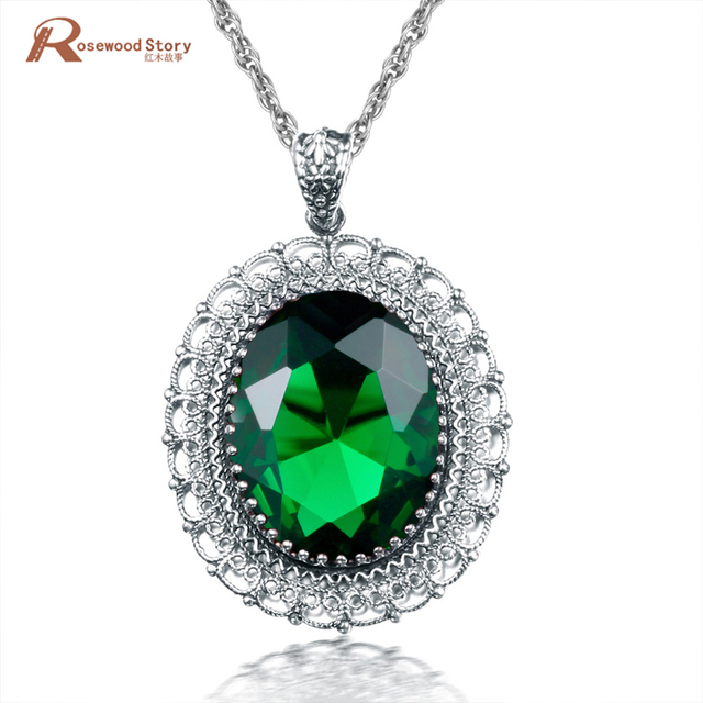 Wholesale Girl's Romantic Design Green Stone Crystal Necklaces Pendants 925 Sterling Silver Vintage Jewelry Handmade Gifts