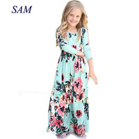 2018 Girls Dresses Autumn Cute Baby Girls Hit Color Long Dress Children Clothes Casual Cotton Beachwear