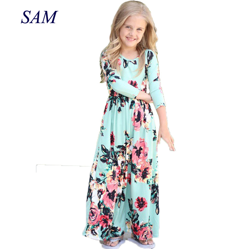 2018 Girls Dresses Autumn Cute Baby Girls Hit Color Long Dress Children clothes Casual Cotton Beachwear Maxi Dress fit 2-10T bohemian pure color u neckline maxi dress