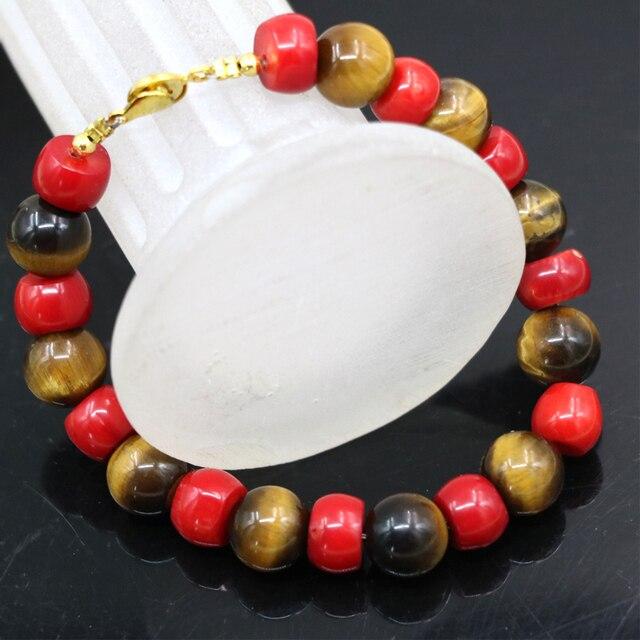 0a70488e3e23 10mm rojo natural Tigre amarillo piedra de coral diseño original encantos  pulsera alta calidad diy joyería