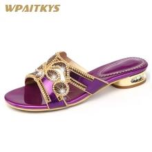 Купить с кэшбэком 2018 Golden Purple Two Colors Available Women's Rhinestone Low heel Sandals Crystal Metal Decoration Fashion Leather Shoes Women