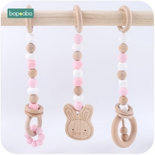 Bopoobo 3pc Beech Rabbit Teething Wooden Ring Silicone Beads Baby Toys