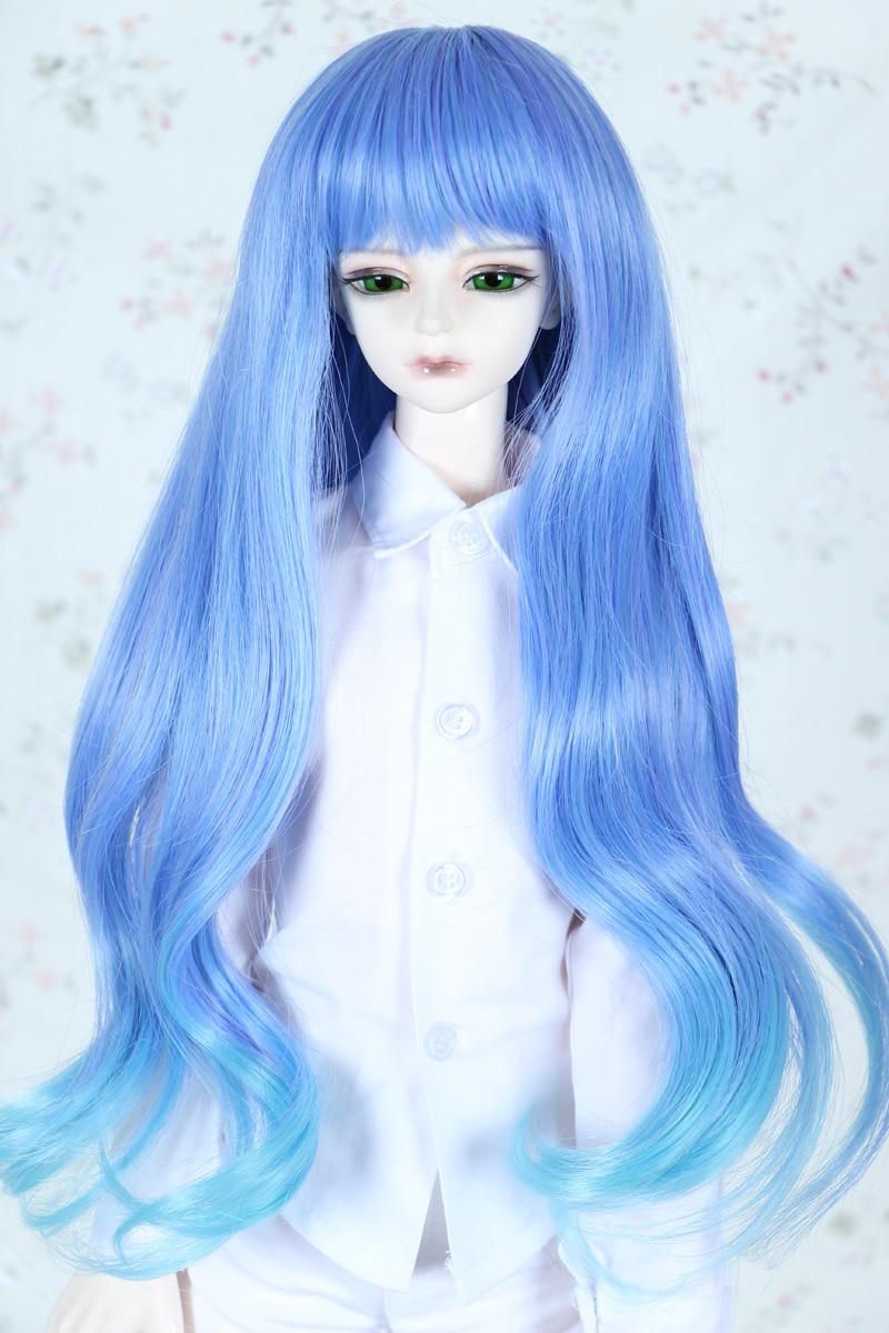 1/3 1/4 BJD парик Pullip Даль DD SD СНМП Dollfie Куклы парик высокой Температура волос 7-8 8- 9 дюймов длинный синий парик 2513