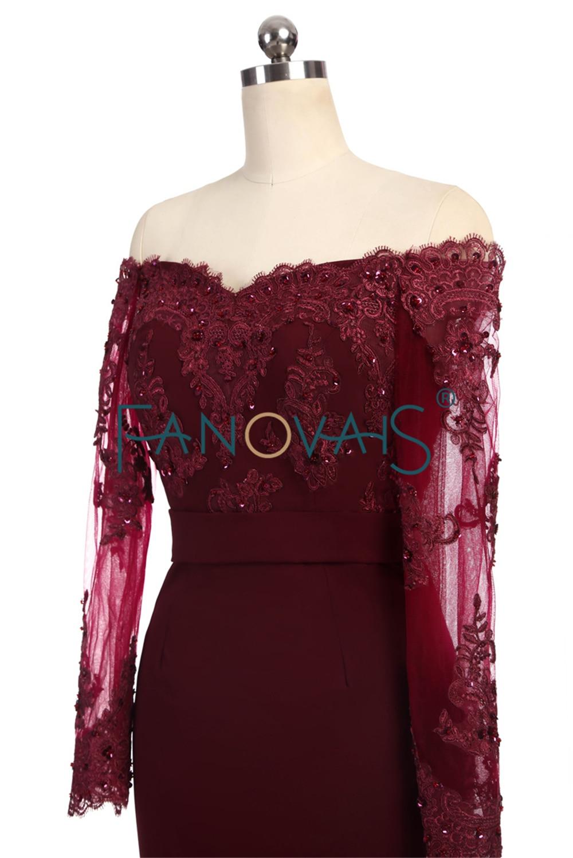 Hot Selling burgundské družičky šaty s dlouhými rukávy z ramene - Šaty pro svatební hostiny - Fotografie 3
