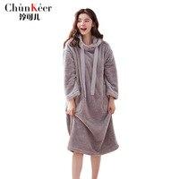 New Winter Women Nightgown Hooded Long Sleeve Soft Flannel Plush Long Sleep Thermal Sleepwear Dress Female Nightwear