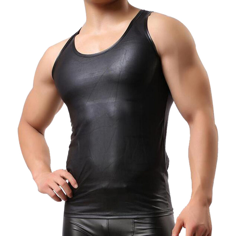 Brand New Sexy   tank     top   men Leather   Tank     Tops   Men's Sleeveless Singlet Undershirts for Fun Party Vest   Tank