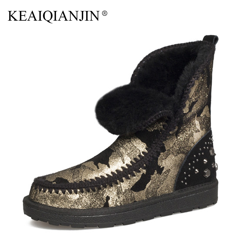 KEAIQIANJIN Woman Shearling Snow Boots Rivet Golden Silver Winter Genuine Leather Flat Shoes Platform Fur Shearling Ankle Boots