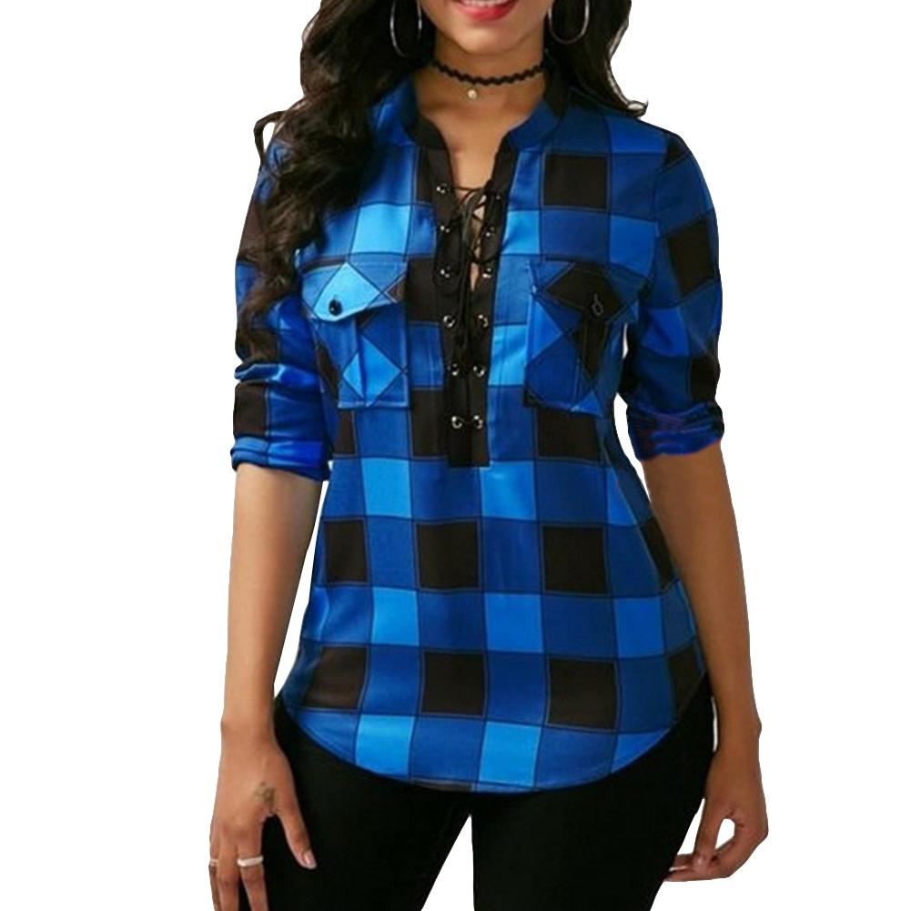 2018 New Women Plaid   Shirts   Long Sleeve   Blouses     Shirt   Office Lady Lace up   Shirt   Tunic Casual Tops Plus Size 5XL Blusas