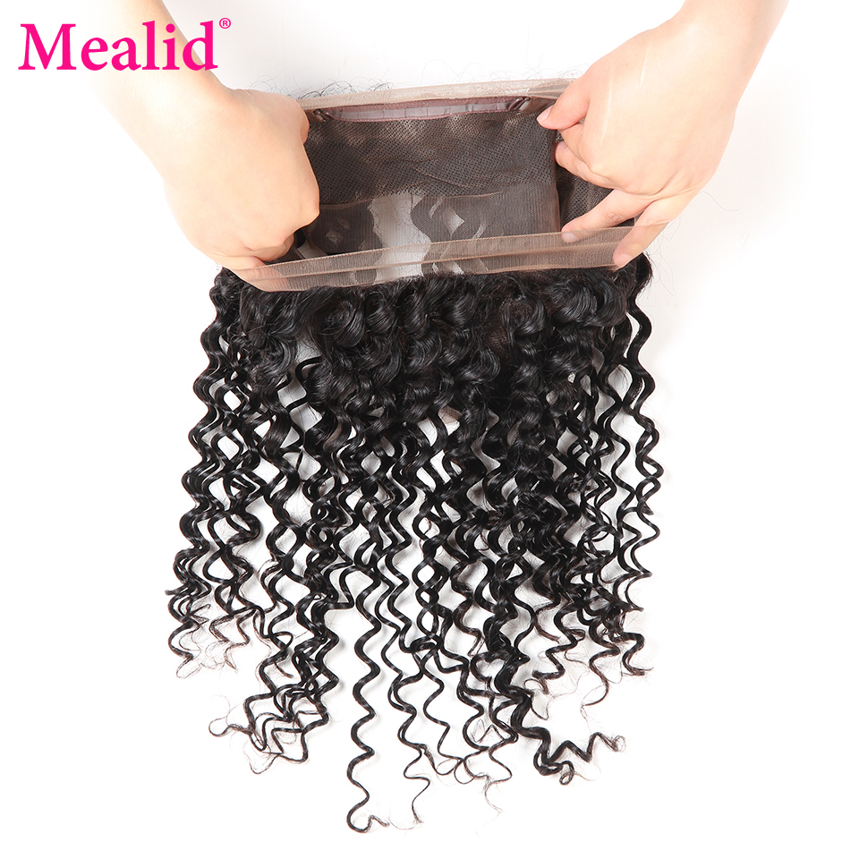 Mealid Deep Wave Bundles With 360 Frontal Natural Color 8-28 Non-remy Brazilian Human Hair 3 Bundles With Frontal Free Part