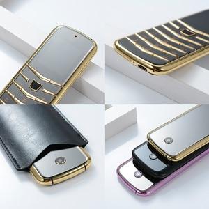 Image 5 - נעילה V03 בר יוקרה Bluetooth חיוג מתכת גוף עור בכיר Dual sim טלפון נייד סופר אות GSM בר רוסית דק ישן טלפון