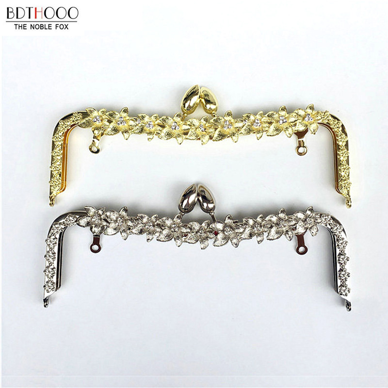 22cm Metal Purse Frame Handle Kiss Clasp Lock Silver BlossomTone For DIY Manual Sewing Clutch Bag Handbag Accessory