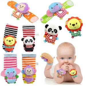 Image 2 - Correia de pulso Chocalhos Meias Animais Brinquedo Novo UM Par 2 pçs/set Handbells Infantil Do Bebê Macio Mão Pé Developmental Brinquedos 0 12Months