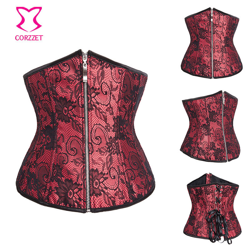 361d40ebe6e Red Satin   Black Floral Lace Zipper Corset Underbust Sexy Espartilhos E  Corpetes Corsets And Bustiers Gothic Burlesque Costumes-in Bustiers    Corsets from ...