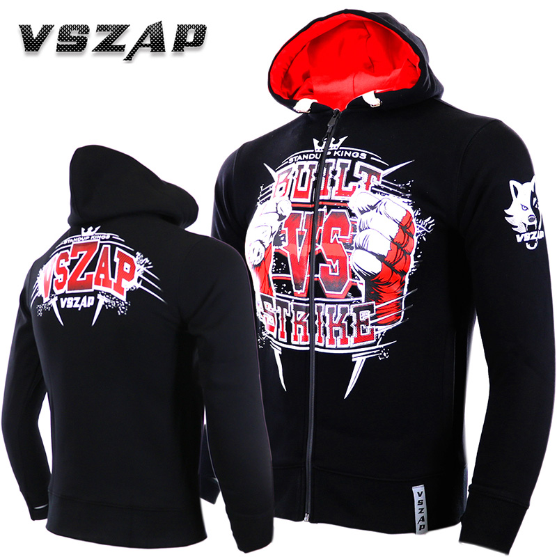 VSZAP Hoodie Zipper Boxing Tracksuits MMA Gym TeeShirt Fighting Martial Arts Men