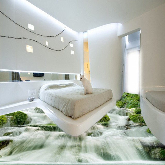 Free Shipping Fountain Scrolls 3D Floor Landscape Mural Background Wall  Waterproof Bathroom Bedroom Flooring Wallpaper Mural