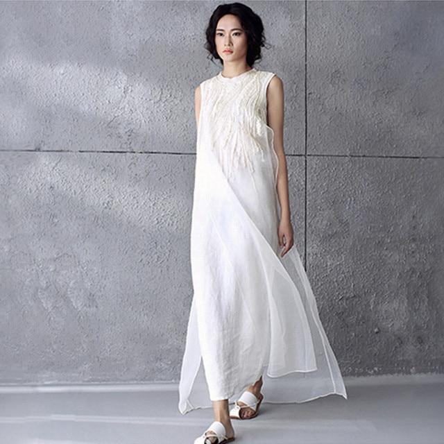 0111f253ba61 € 22.94 49% de DESCUENTO|Nuevo vestido de lino de algodón para mujer 2019  verano bordado de Organza Maxi largo vestido de tirantes Vintage bata ...