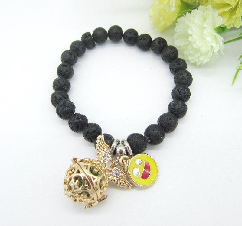 Разные истории мода черной лавы Бусины с замечательным Талисманы открывающийся медальон DIY Эфирные масла диффузор браслет