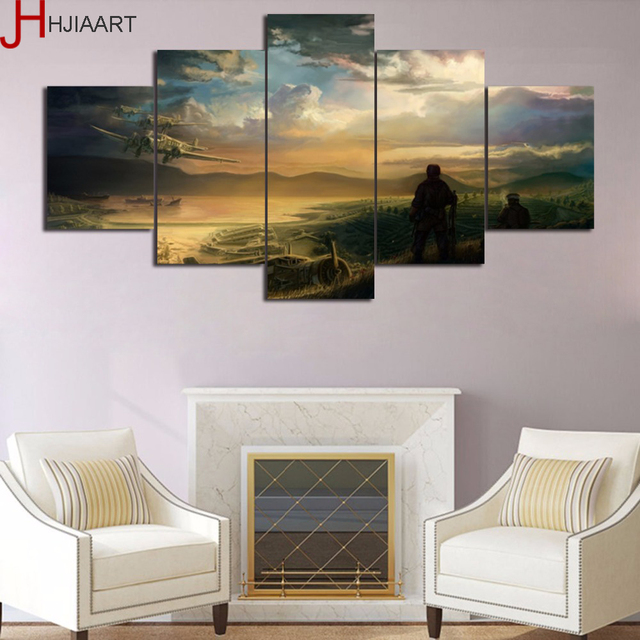 HJIAART Framed 5 Panel Painting Airplane Aircraft Wall Art Canvas ...