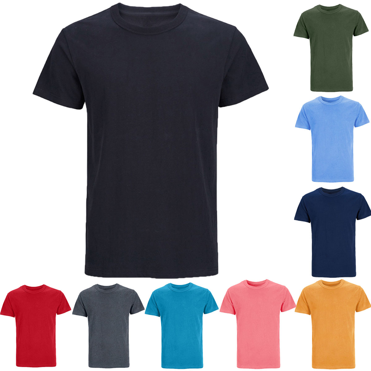 Mens Heavyweight Heavy Cotton Thick Plain Solid 7.3-8.6 Ounce T-Shirts Casual Basic Soft Sport Tee Top Undershirt for Adult