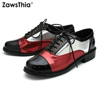 ZawsThia 2019 spring patent PU leather lace up casual shoes for woman fashion oxford shoes women flats shoes large size 45 47 48