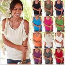 купить Summer Solid T Shirt Ladies Sexy O Neck Off Shoulder Batwing Sleeve Tshirt Casual Loose Basic White T-Shirt Tee Tops for Women по цене 800.46 рублей