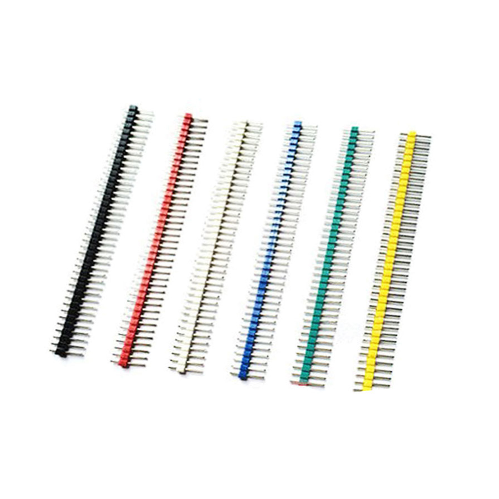 HoBiMart Color pin header 2.54mm 1*40P single row of pins straight pins Red White Blue Yellow green black Hot sale