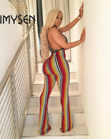 IMYSEN Summer Autumn Print Sexy Jumpsuit Women Rompers Halter Backless Stripe Romper Boot Cut Jumpsuits New