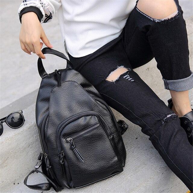 2016 Черный Цвет Мыть кожаные Рюкзаки Корейский Стиль 2016 Женщины Рюкзак Ежедневно Талии PackTravel Мешки