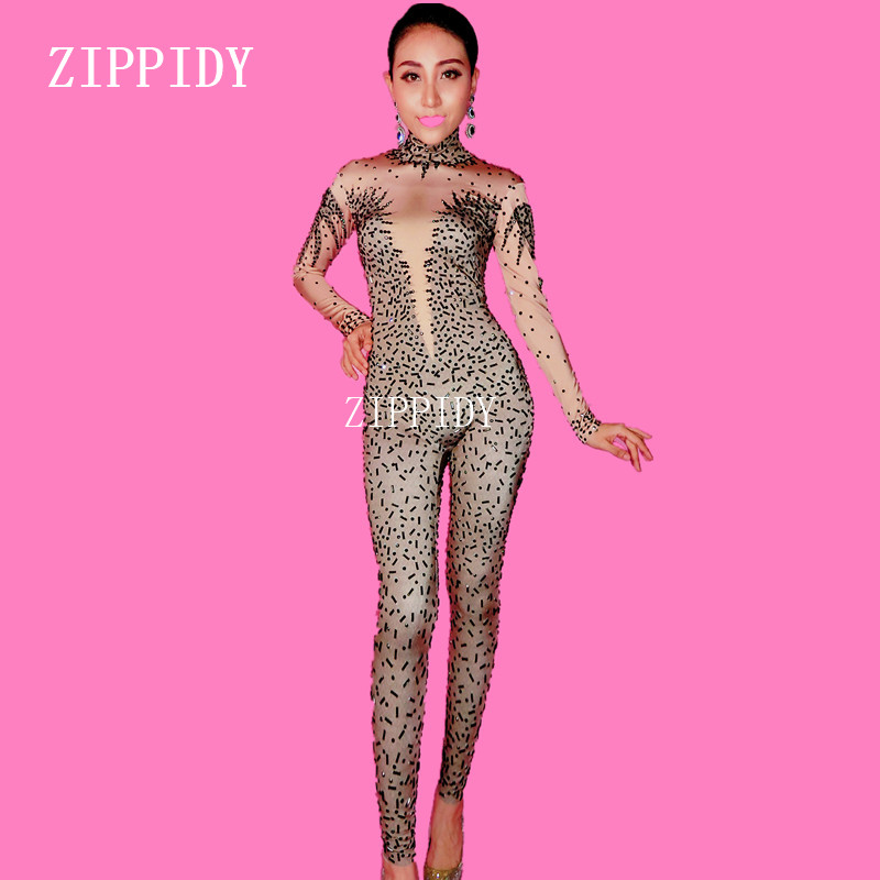 Sexy Black Rhinestone Jumpsuit Female Singer Dancer Stretch Spandex Bodysuit One-piece Costume Outfit Party Performance Wear