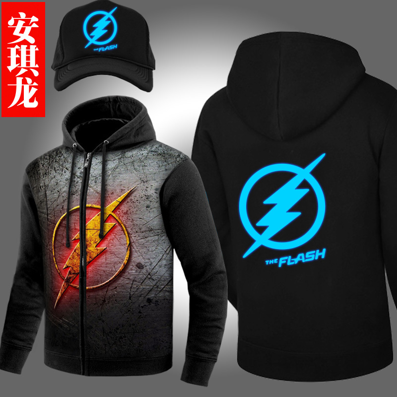 New Fashion Autumn Winter Jackets and Coats The Flash hoodie Anime Justice League Hooded Thick Zipper