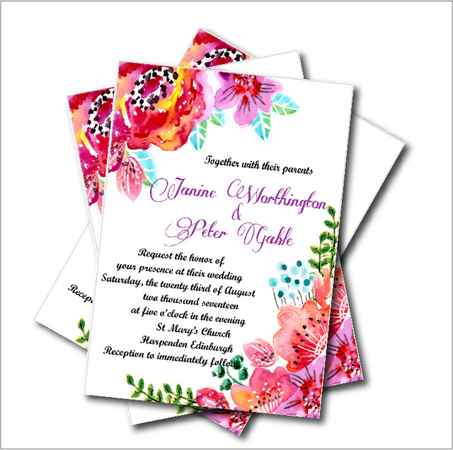 20pcs lot watercolor flower bridal shower wedding invitation vintage