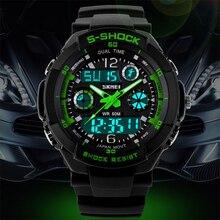 2016 de Los Hombres Del Reloj Digital de Cuarzo Relojes Hombres Deportes Relogio masculino Relojes SKMEI S Choque Militar LED Relojes A Prueba de agua