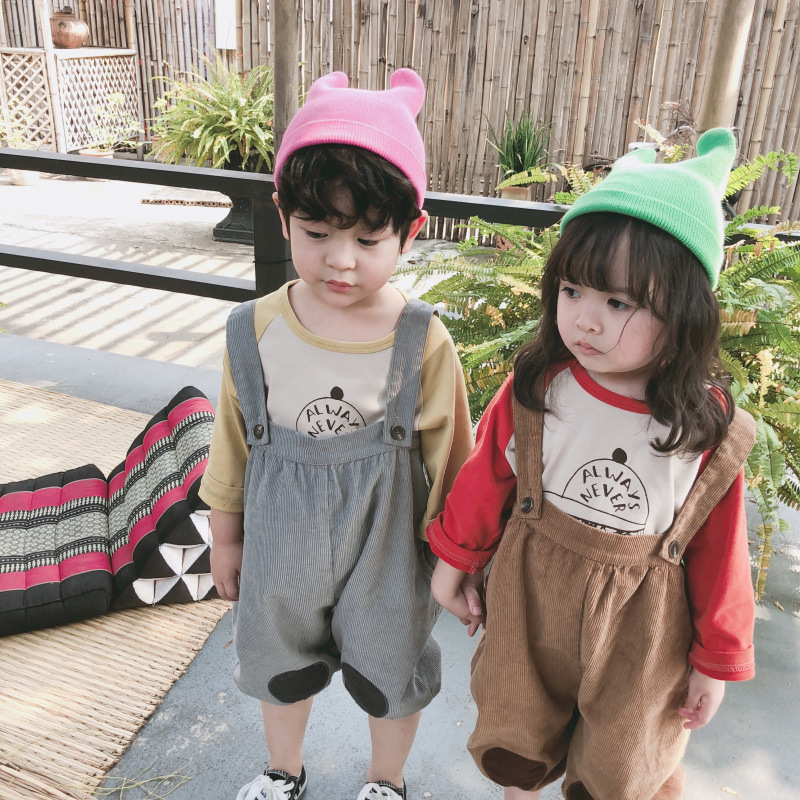 Girls Overalls Pants Suspender Toddler Corduroy Trousers Boys Children's New Autumn Fashion