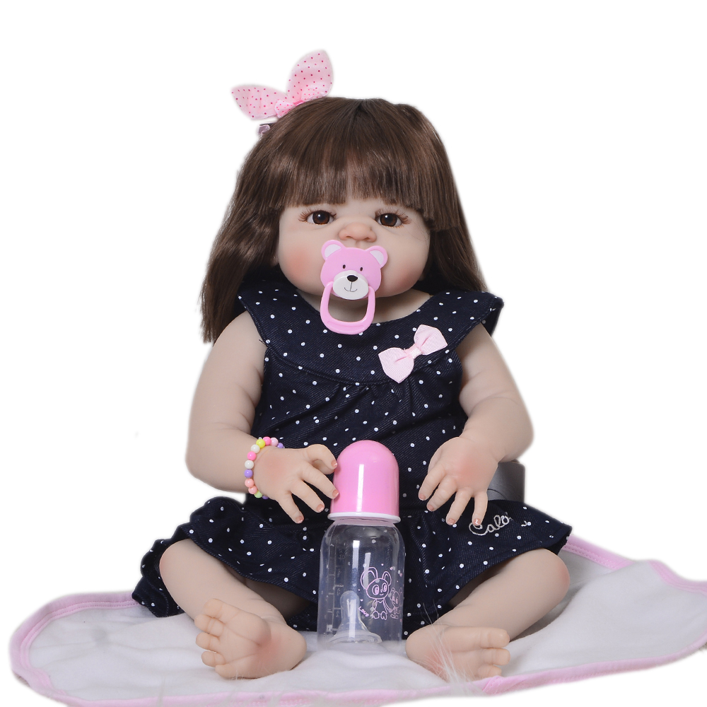 """Muñeca de bebé Realista para niñas Reborn Baby Doll 23 """"vinilo de silicona completo 57 cm muñecas realistas para niños de moda regalos de cumpleaños-in Muñecas from Juguetes y pasatiempos    1"""