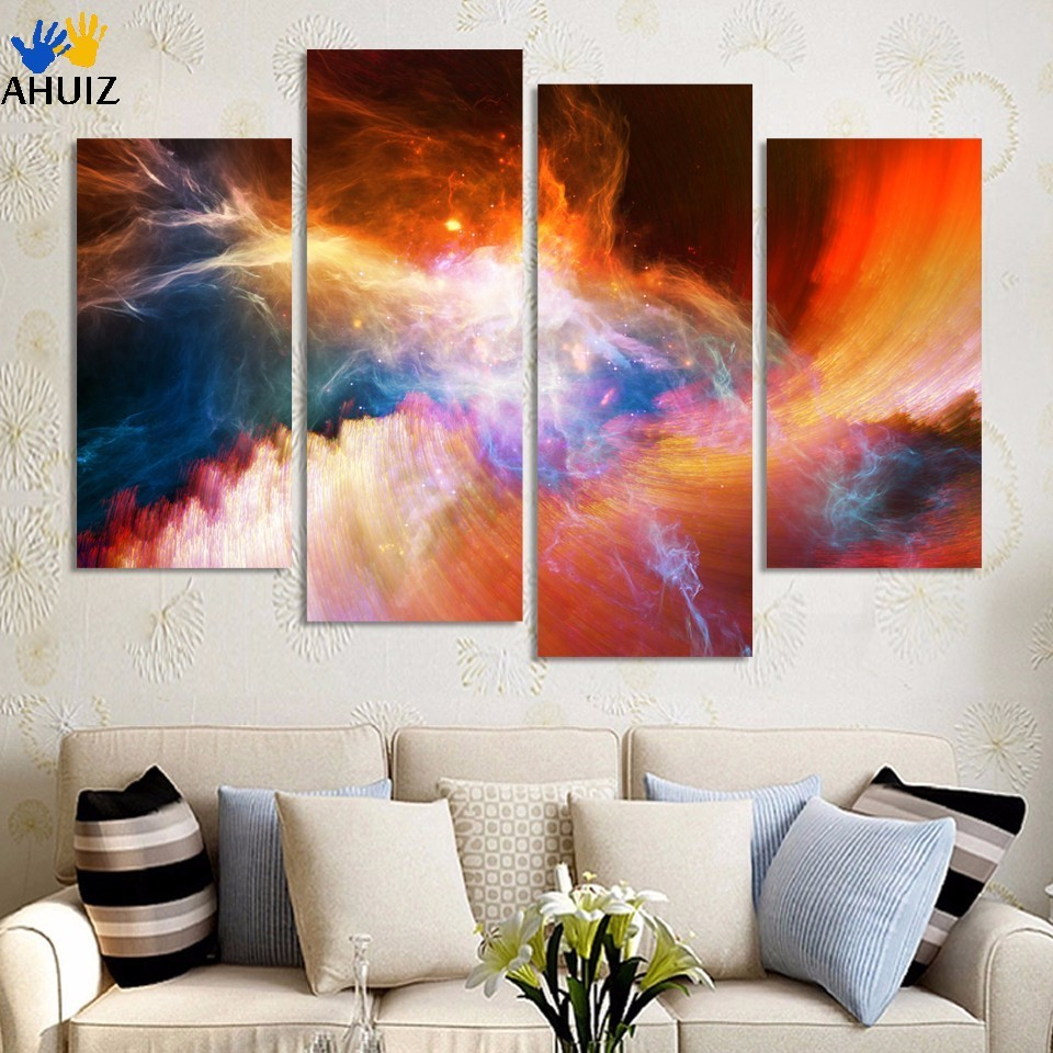 Free shipping 4 piece Framed large canvas art modern abstract Purple pictures oil painting landscape home decoration wall decor
