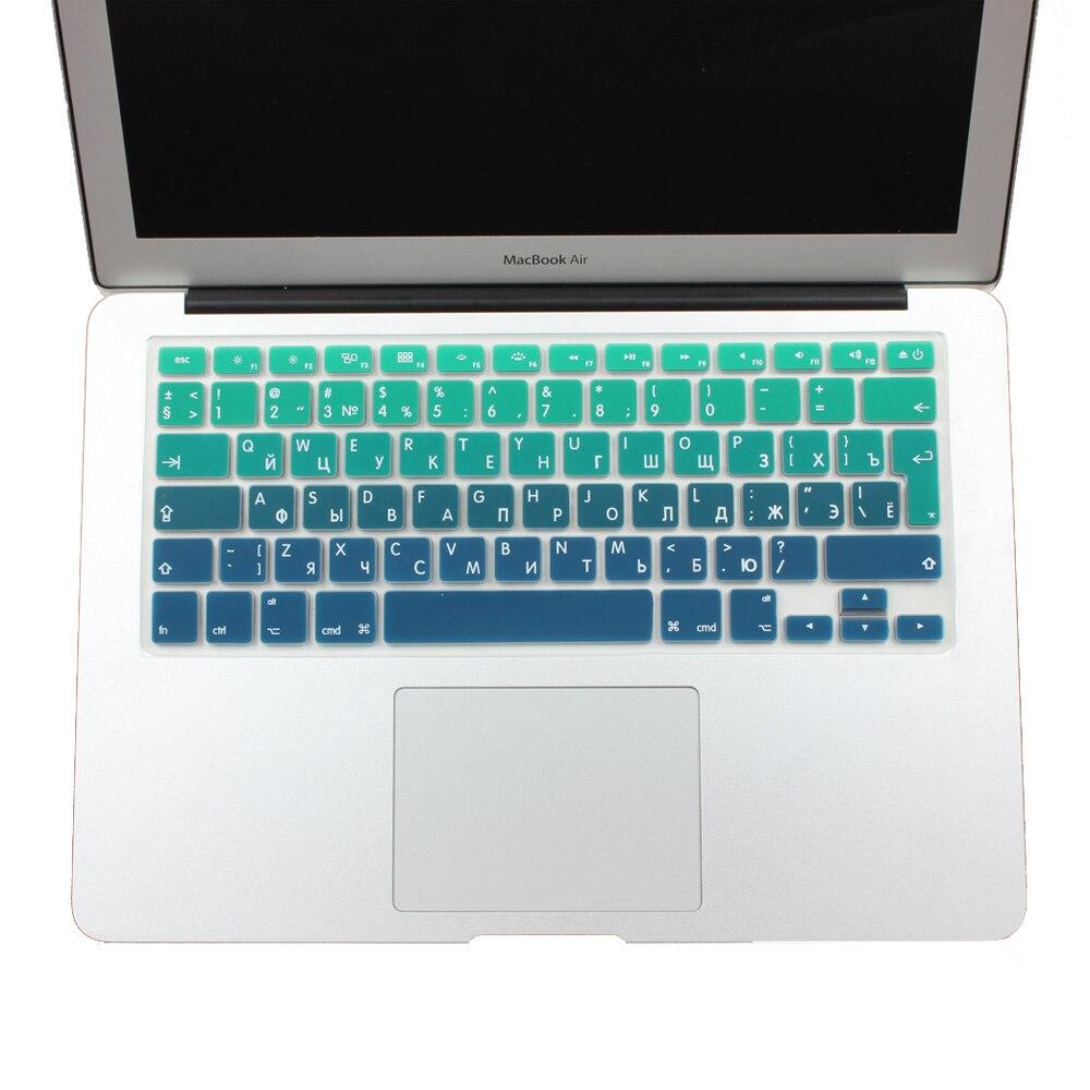Euro Spanish English Russia Water Dust Proof Keyboard Cover for MacBook Air 13 Protector Gradual Change Colors Pro 13 15 Retina-EU Spanish Rainbow